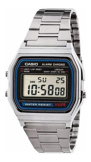 Relógio Casio Unisex A158 Retrô Vintage Prata Top