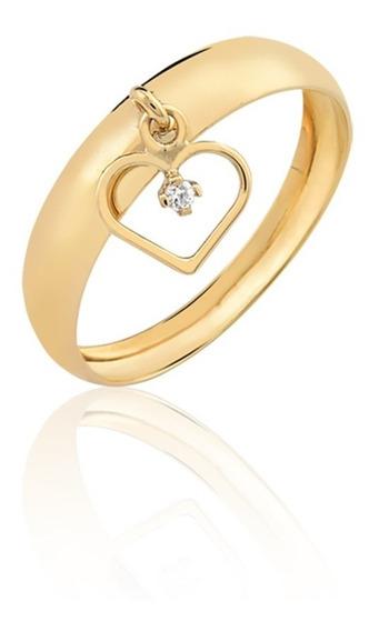 Anel Pingente Coração Vazado Pedra Ouro 10k Ac