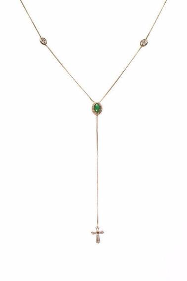Colar Gravatinha Folheado Ouro 18k Com Cristal Verde E Cruz