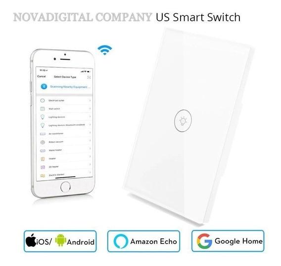 Nova Interruptor Touth Screen Led 1 Botão Wi-fi Google Home