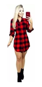 Vestido Feminino Xadrez Tendência Moda Chemise Viscose Roupa