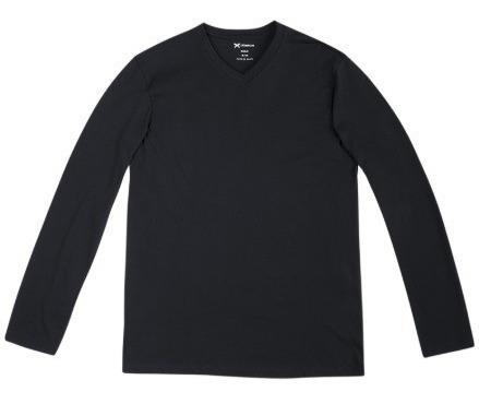 4 Camisetas Hering Masculina 022d Algodão Manga Longa Gola V