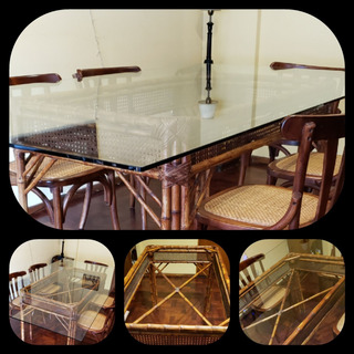 Mesa Con Tapa De Vidrio Y Base De Caña De Bambu