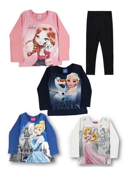 Blusa Manga Longa E Leg Kit Conjunto Bebê Menina . Tam 1