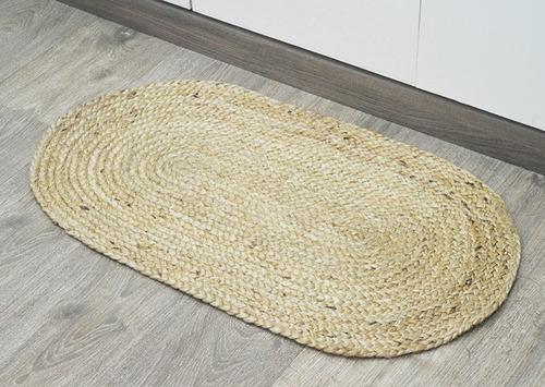 Tapete Indiano De Juta Oval Sala Quartos Banheiro - 80cm