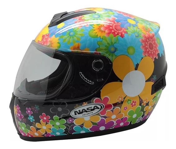 Capacete Nasa Helmets Flowers Sh 821 Preto