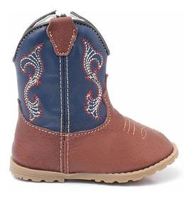 Bota Infantil Texana Bebê Masculina 100% Couro Azul