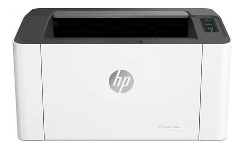 Imagen 1 de 3 de Impresora simple función HP Laser 107w con wifi blanca y negra 220V - 240V
