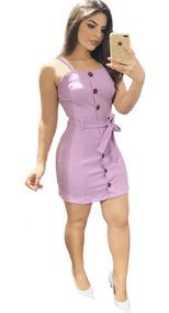 Vestido Curto Com Botão E Laço Alcinha Tecido Leve Blogueira
