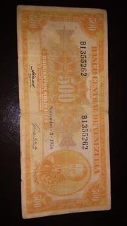 Billete De 500 Canario Del 8 De Noviembre 1956