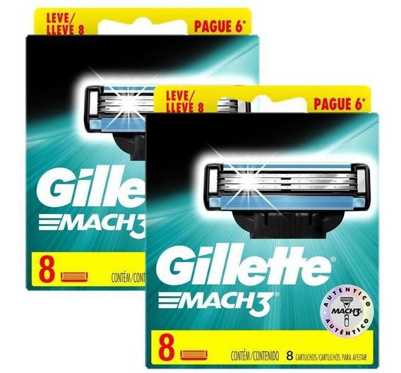 Kit C/ 16 Cargas Gillette Mach3 Regular
