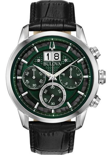 Relógio Bulova Sutton Masculino Crono 96b310 Verde Couro