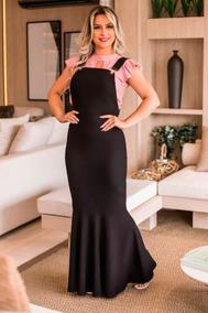 Vestido Salopete Jardineira Longa Moda Evangélica 2019
