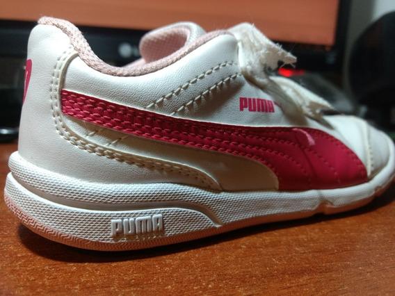Zapatillas Niña Puma Originales De Cuero Blancas Con Abrojos