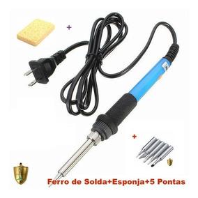 Ferro De Solda Com Temp Ajustável 110v/220v+esponja+5 Pontas