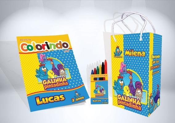30 Kit Colorir Galinha Pintadinha Revista Sacola Lembrança