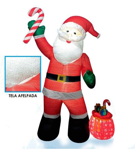 Inflable Navideño Santa Con Caramelo Tipo Felpa 2.4m Ml9179
