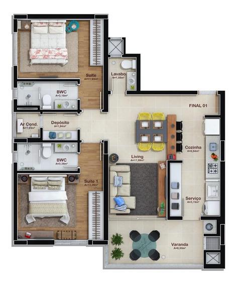 Apartamento Em Escola Agrícola, Blumenau/sc De 84m² 2 Quartos À Venda Por R$ 350.000,00 - Ap466254
