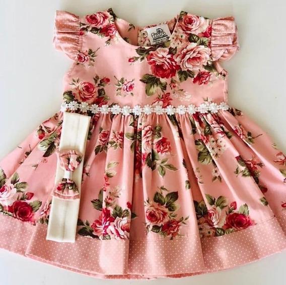 Vestido De Bebe Com Tiara 100% Algodão
