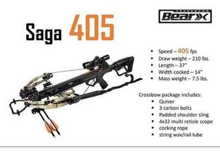 Ballesta Bear Archery 405 Fps! 210 Libras