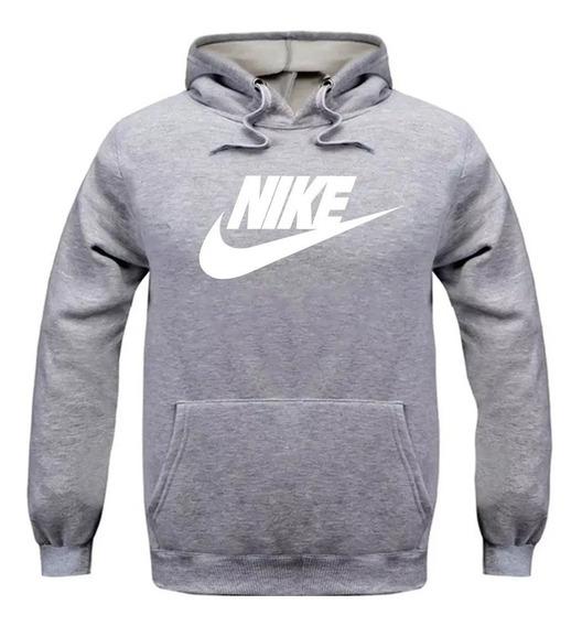 Blusa De Frio Moletom Cinza Nike Com Canguru Com Capuz
