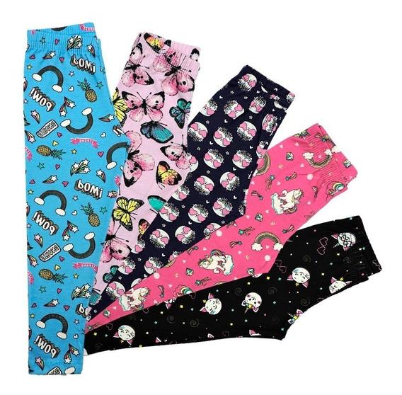 Kit 5 Calça Legging Infantil Menina Roupa Atacado
