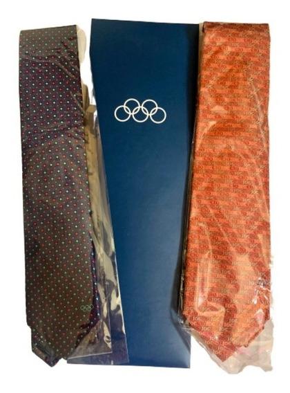 Juego 2 Corbatas Olímpicas Para Vips En Suiza 100% Seda