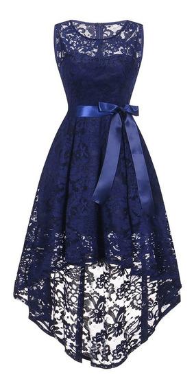 Vestido De Fiesta Sin Mangas De Encaje Floral De Moda