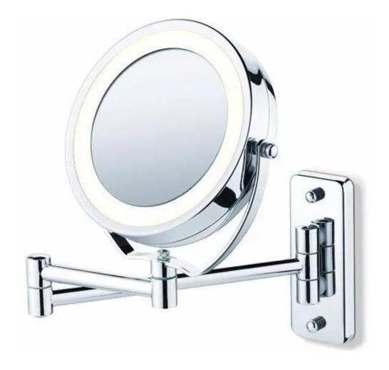 Espelho Aumento 5x Iluminado Articulado Parede Barbear Led