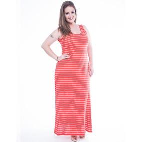 Vestido Plus Size Listrado Laranja Mirasul - Tamanho G 46