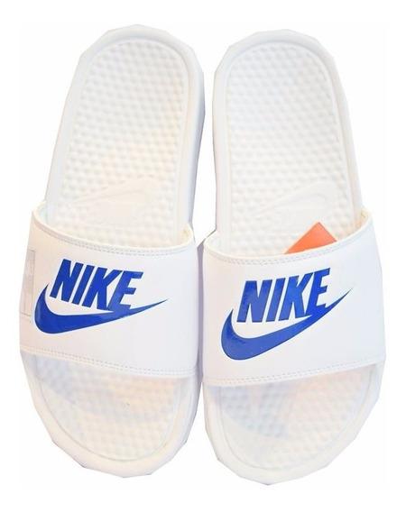 Ojotas Nike Benassi Jdi Unisex Blanca Con Azul