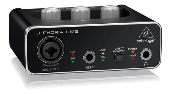 Interface De Áudio Behringer U-phoria Um2 Usb 48 Khz
