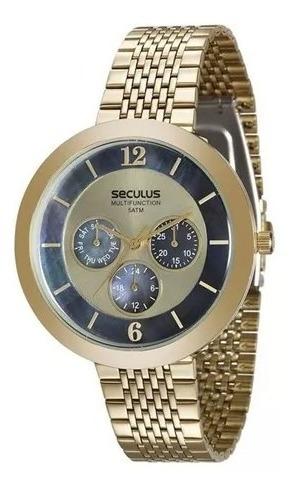 Relógio Seculus Feminino Cronógrafo Dourado