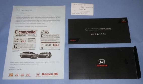 Honda Civic Folder Cartão Visita Concessionaria Kaisen
