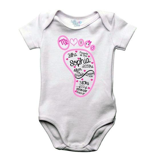 Body Pézinho Com Dados De Nascimento Menina Frete Gratis