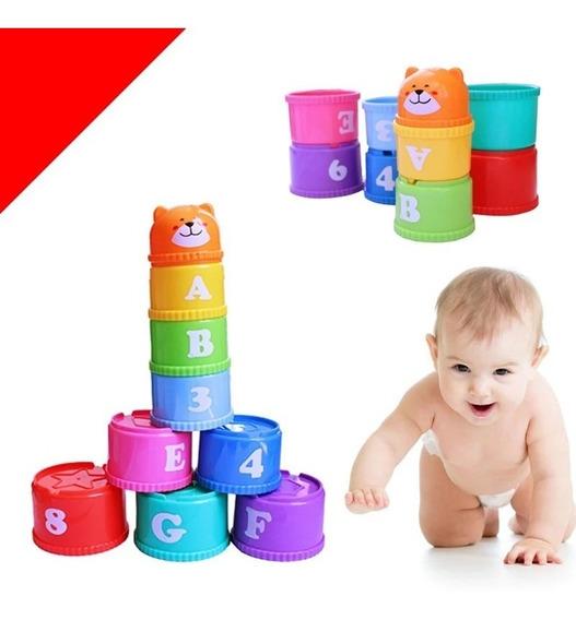 Potes De Empilhar Para Bebês Numeros E Letras Encaixar C/ 09