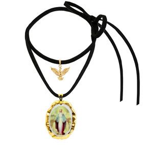 Medalha Nossa Senhora Graças Ouro E Espírito Santo E Cordão