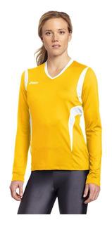 Playera Asics Manga Larga Amarilla Voleibol Deportiva