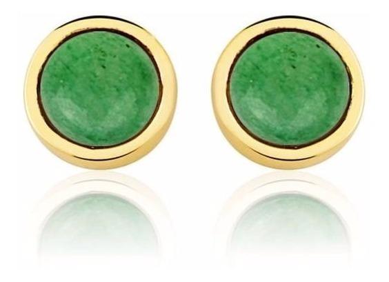 Brinco Semijoia Ouro 18k Círculo Único Quartzo Verde
