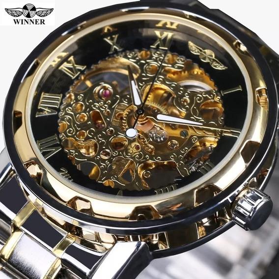 Relógio Skeleton Luxo Mecânico Romano Borda Preta Winner