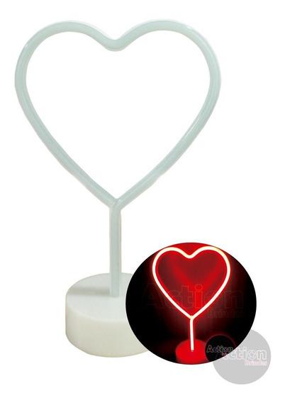 Luminária Abajur Coração Neon Decoração