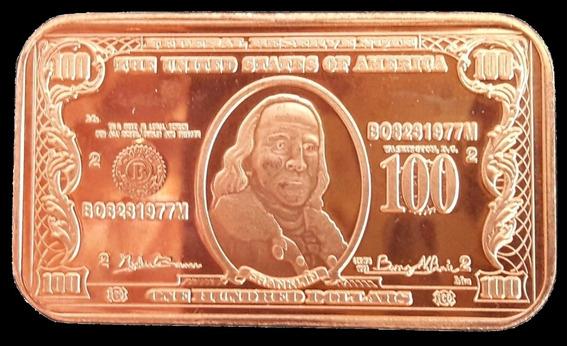 Estados Unidos Lingote De Puro Cobre .999 (réplica Billete)