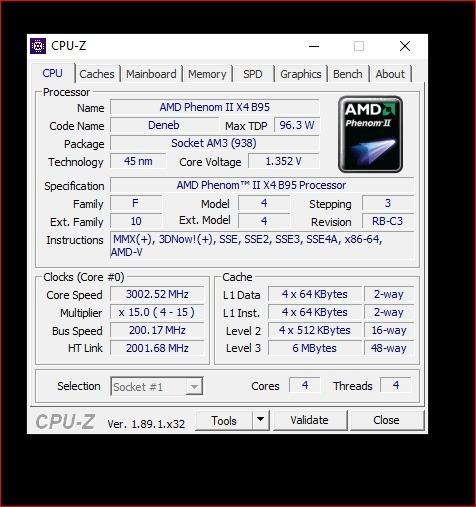 Processador Amd Phenom X4 3.0ghz Am3 Usado