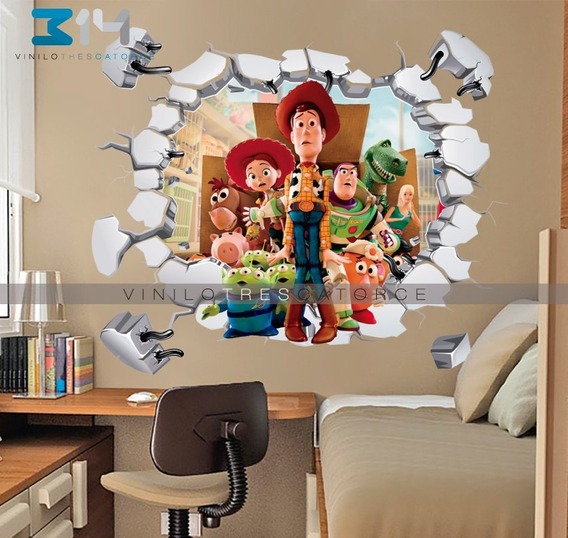 Vinilo Decorativo 3d Toy Story Calcomanía Muro Roto Sticker