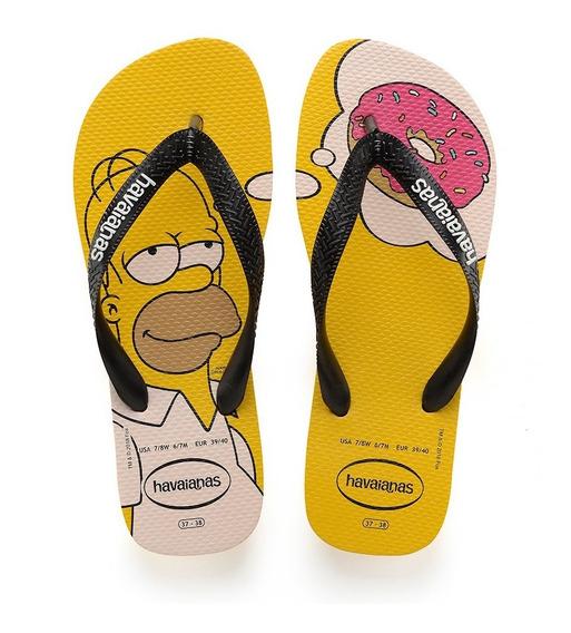Chinelo Havaianas Simpsons Amarelo Homer Colecao 2019