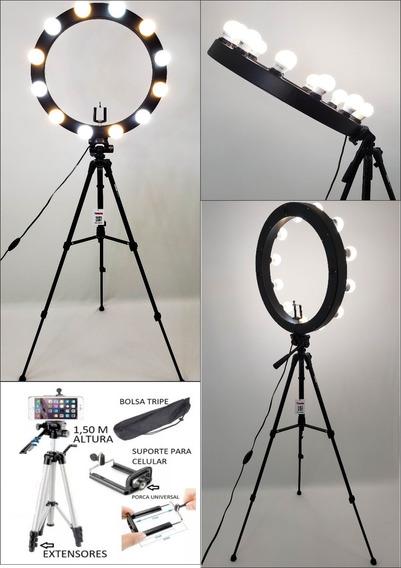 Ring Light 12 Soquetes Mod. Caixa + Tripé + Kit Selfie
