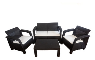 Sala Tipo Rattan 4 Pzas, Jardín Terraza Exterior Color Negro