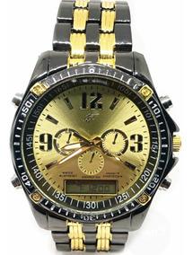 Relógio Luxo Dourado Prata Potenzia Barato Top Promoção Top!