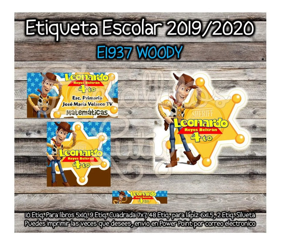 Etiquetas Escolares Woody Toy Story 2019