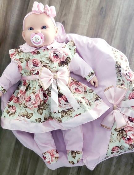 Saída De Maternidade Menina Floral Luxo